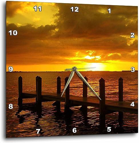 3dRose DPP_16785_1 Burnt Orange Sky Wall Clock, 10 by 10-Inch