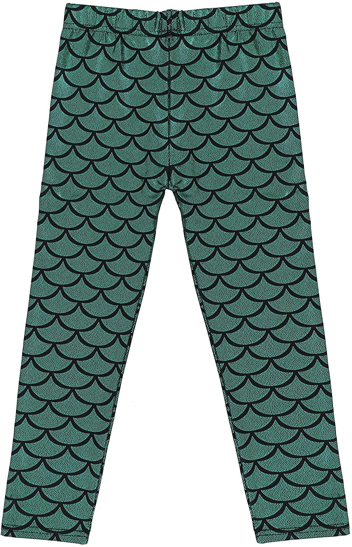 Kids Shiny Night Club Full Length Mermaid Fish Scale Print Leggings Pants