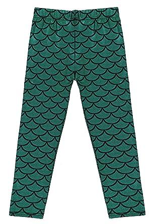 1e841adacf82 Kids Girls Night Club Full Length Mermaid Fish Scale Print Leggings Green S