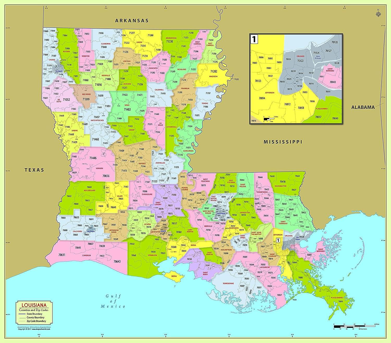 zip codes in louisiana map Amazon Com Louisiana County With Zip Code Map 48 W X 42 H zip codes in louisiana map