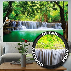 GREAT ART Photo Wallpaper – Waterfall Feng Shui – Picture Decoration Nature Jungle Paradise Asia Travel Location Thailand Wellness Spa Relax Image Decor Wall Mural (82.7x55.1in - 210x140cm)