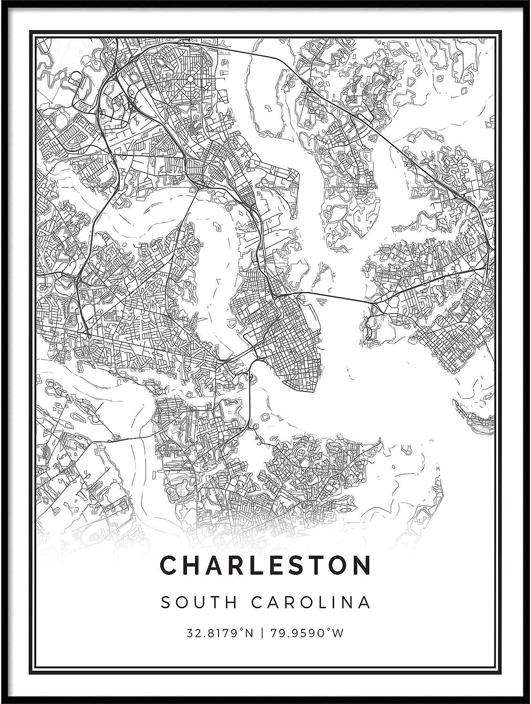 Charleston map Poster Print | Modern Black and White Wall Art | Scandinavian Home Decor | South Carolina City Prints Artwork | Fine Art Posters 18x24