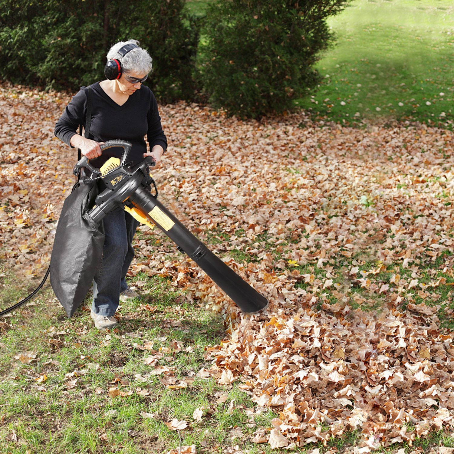 Leaf Blower Vacuum, TECCPO TABV01G 12-Amp 250MPH 410CFM 3 in 1 corded electric Two-Speed Sweeper/Vac/Mulcher, Plastic Impeller Metal Blade, Ideal for Lawn and Garden by TECCPO (Image #7)