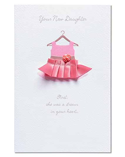 American Greetings Pink Dress New Baby Girl