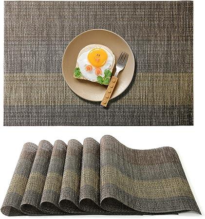 Raniaco Set De Table Plastique 6 Pvc Set De Table Antiderapant
