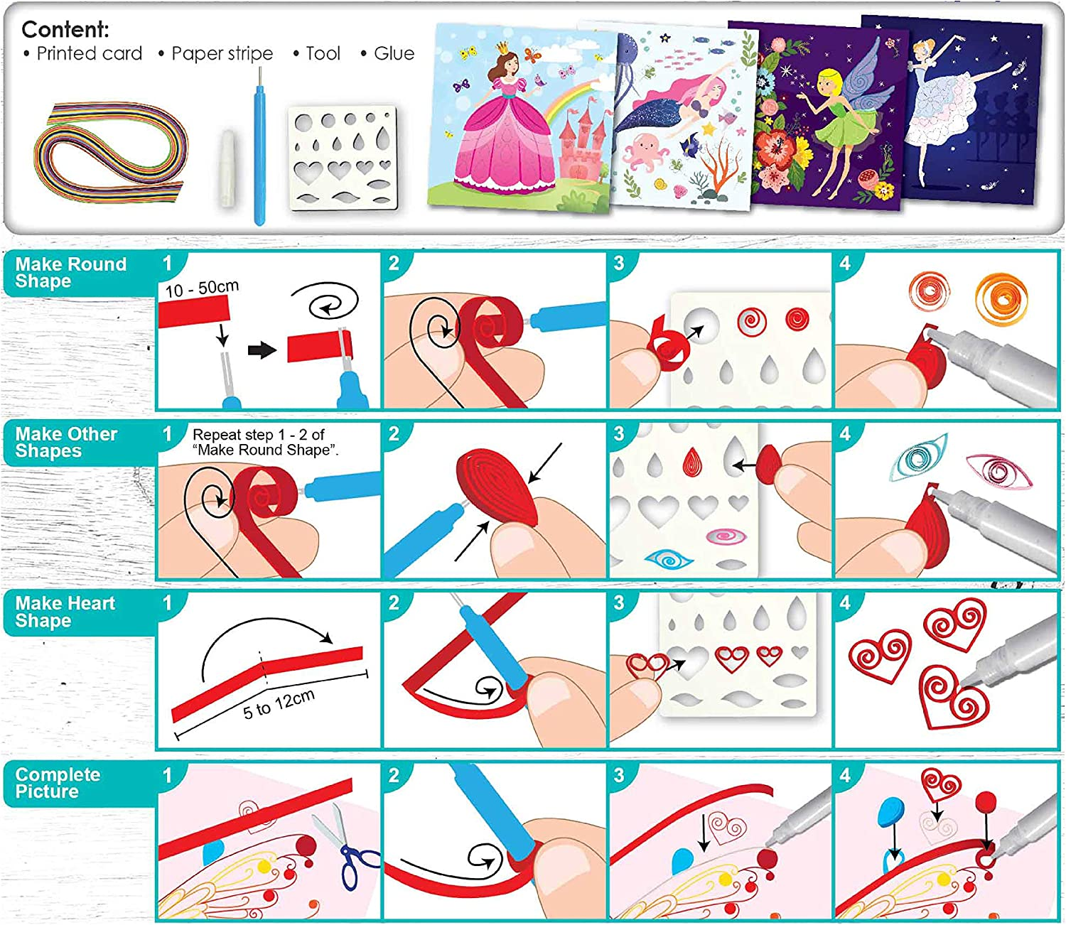 C.S.KIDS PQ02 C.S DIY Arts /& Crafts Gifts Paper Strips /& Tools Included Fairy Tales  3D Quilling Design Kits for Kids Make Art