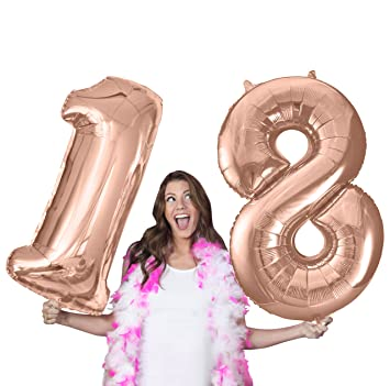 RhinestoneSash 34quot Giant Rose Gold 18th Birthday Helium Quality Foil Mylar Balloon
