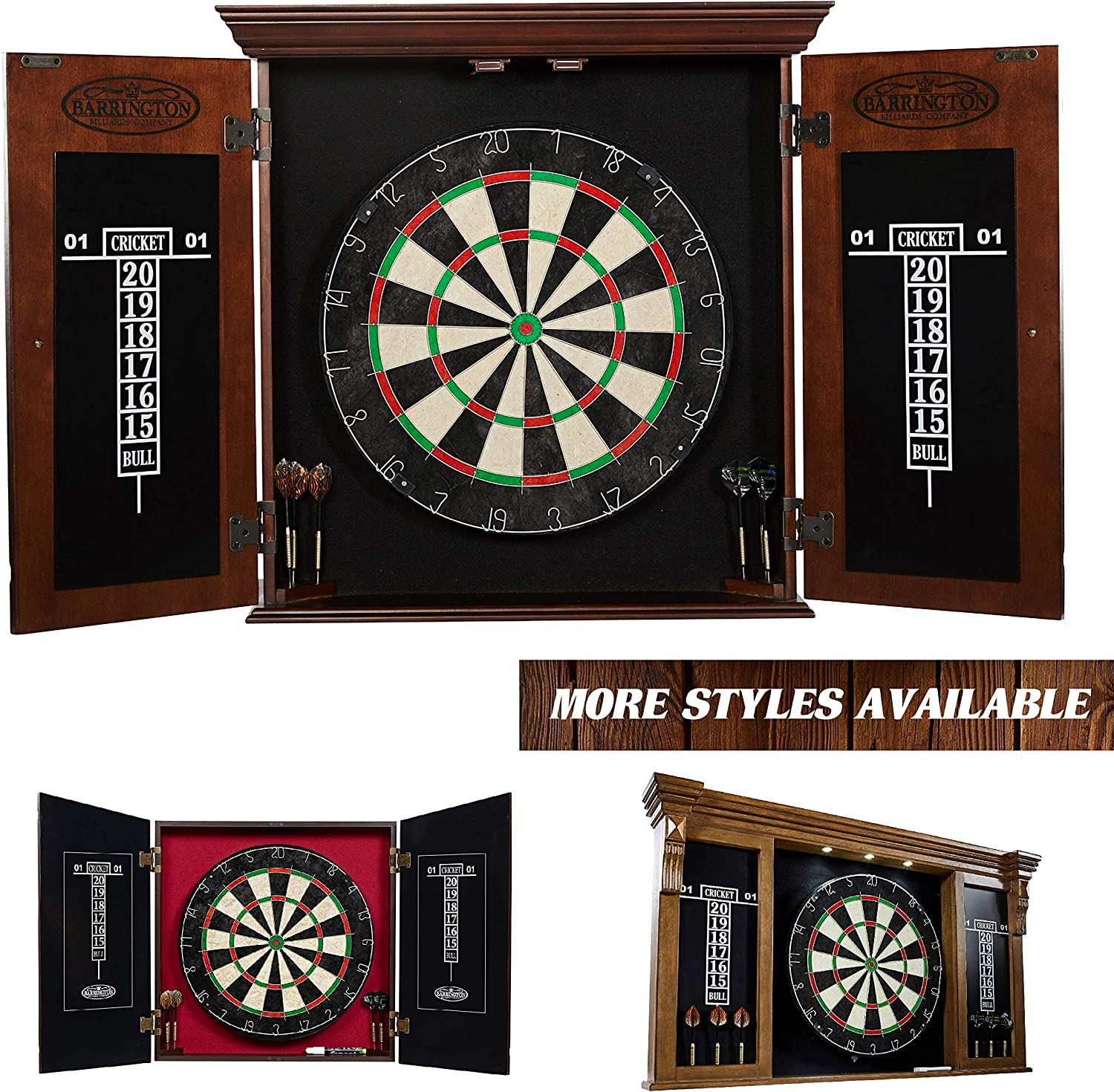 Barrington Bristle Dartboard Cabinet Set: Professional Hanging Classic Sisal Dartboard with Self Healing Bristles and Accessories : Sports & Outdoors
