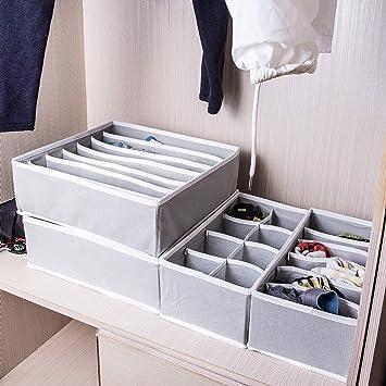 Juego de 4 cajones organizadores cajas de almacenamiento plegables separadores armario ropa interior sujetador calcetines ropa