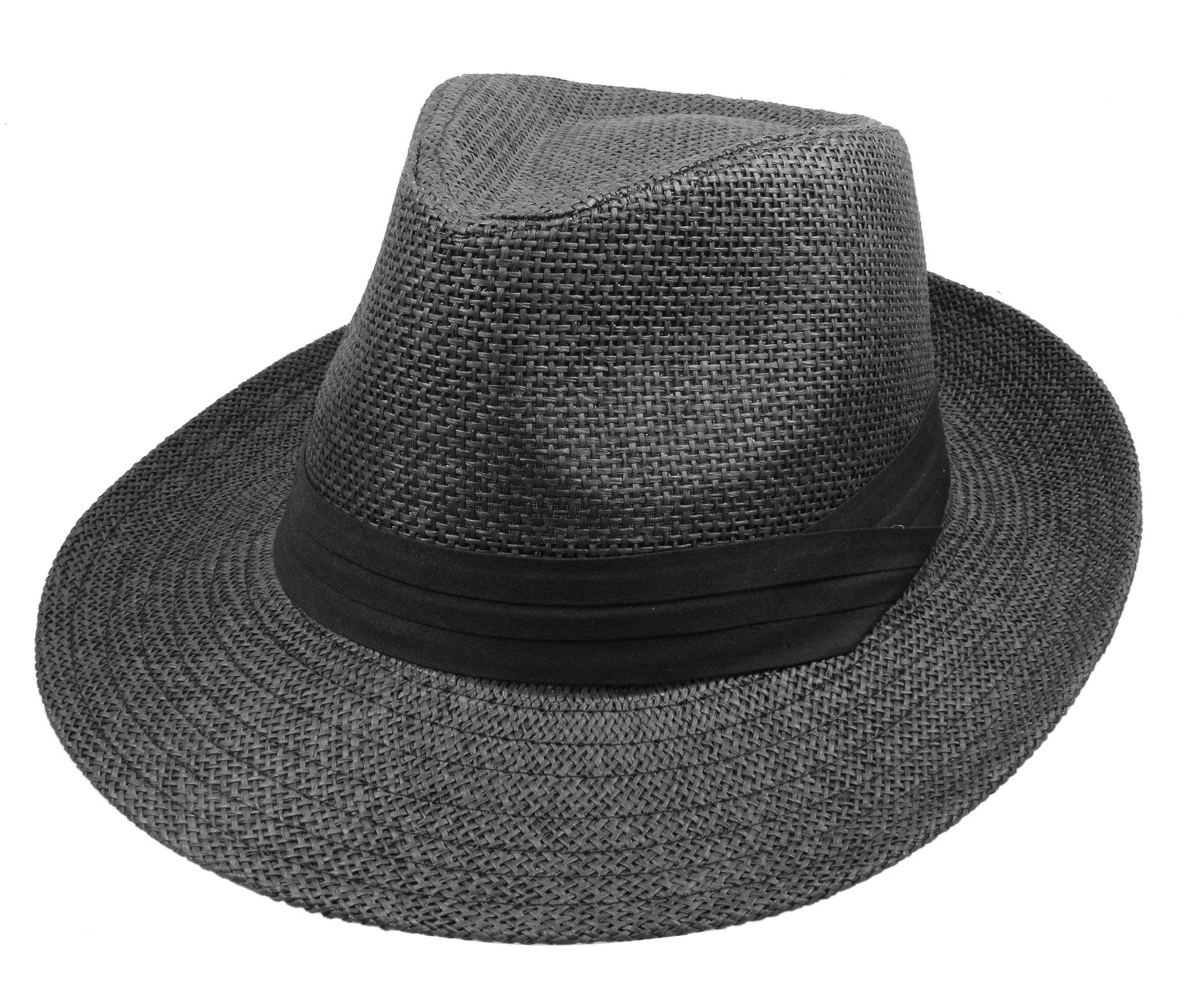 Gelante Wide Brim Summer Fedora Panama Straw Hats with Black Band M255-Black-L/XL