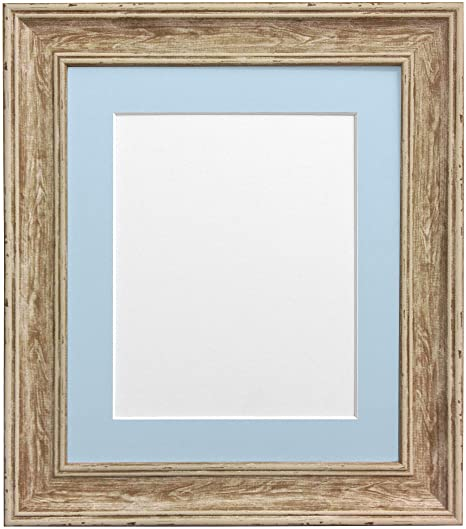 Scandi Distressed Wood Picture Photo Frame with Blue Mount 40 x 50 ...