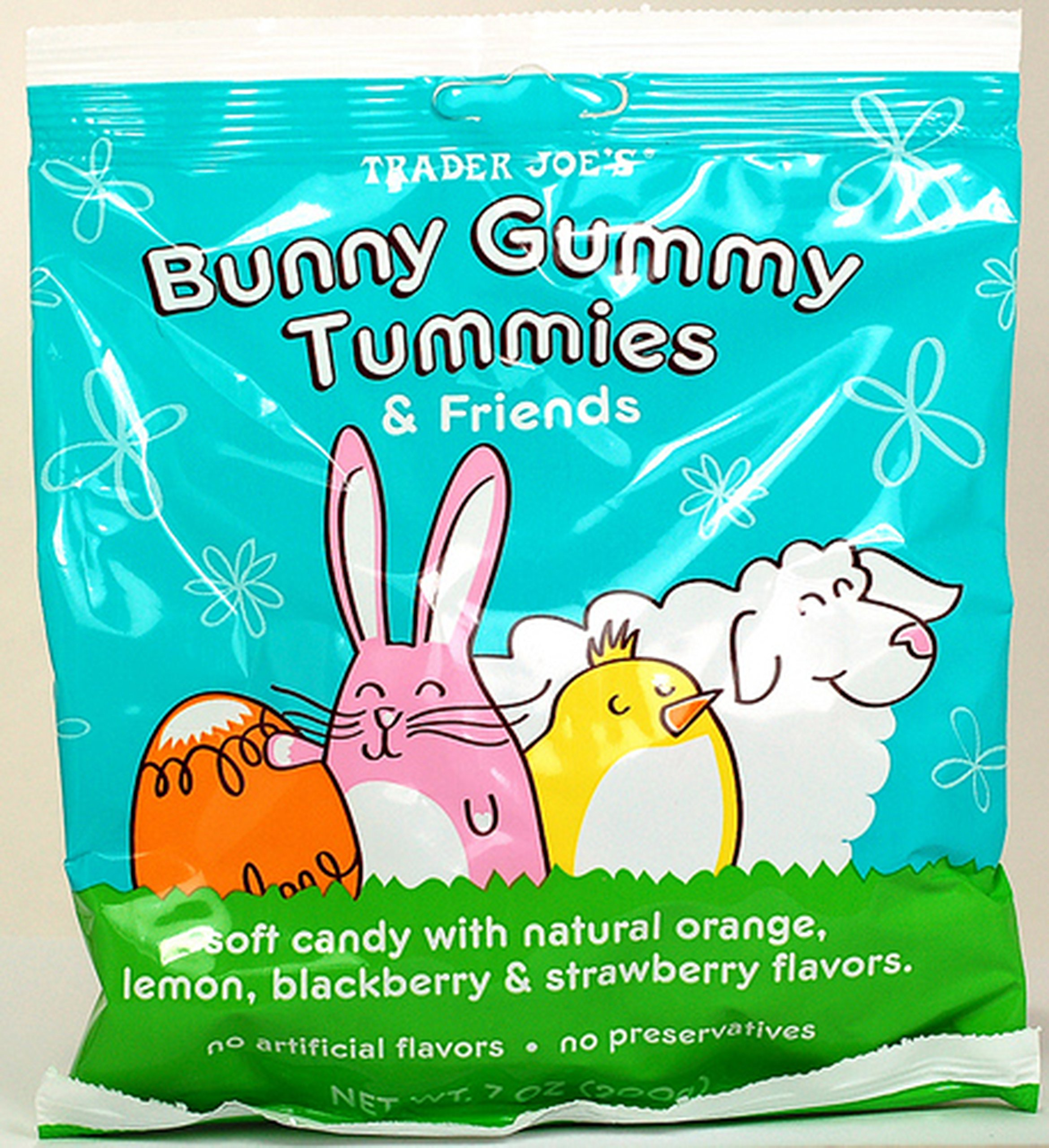 Trader Joe's Bunny Gummy Tummies & Friends Natural Flavors No Preservatives 7 Oz. (Pack of 2)