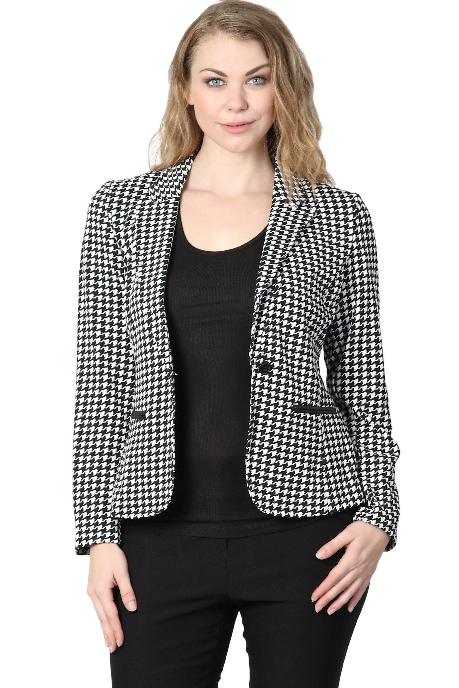 TheMogan Junior's Checker Faux Leather Pocket Slim Fit Blazer Jacket Black 1XL by TheMogan (Image #1)