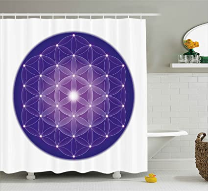 Ambesonne Sacred Geometry Shower Curtain Flower Of Life Design Ancient Traditions With Point Stars