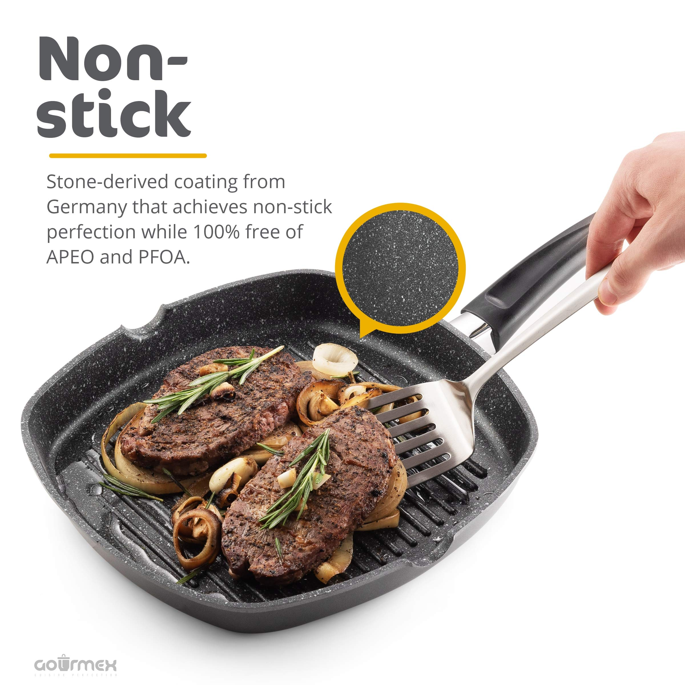 GOURMEX Toughpan Induction Grill Pan, Black, With PFOA Free Nonstick Coating | Great Skillet for Meat, Fish and Vegetables | Perfect for All Heat Sources | Dishwasher Safe Cookware (11'' Grill Pan) by GOURMEX (Image #5)