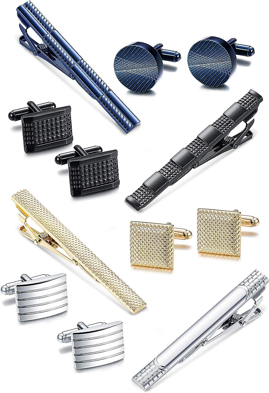 Jstyle Tie Clip and Cufflink Set for Mens Necktie Tie Bar Clips Cufflinks Shirt Wedding Business with Box