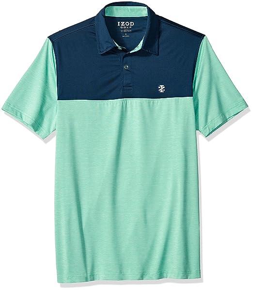 b79e4a1f IZOD Men's Performance Golf Polo, Block Jade Green, Large: Amazon.co.uk:  Clothing