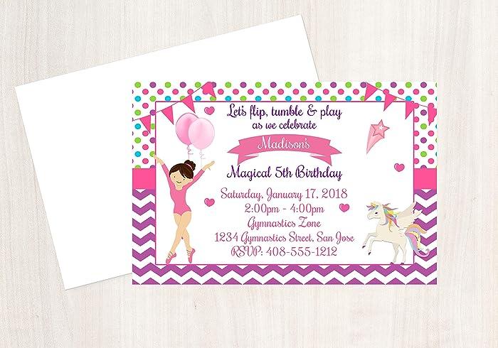 Gymnastics Invitation Unicorn Party 25 Invitations With Envelopes