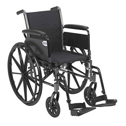 Drive Medical Cruiser III Light Weight Wheelchair with Various Flip Back Arm Styles and Front Rigging...
