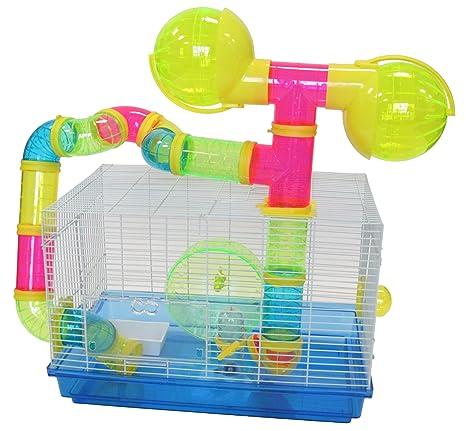 YML Enano hámster ratón Jaula con Color Tubos y Accesorios, Color ...