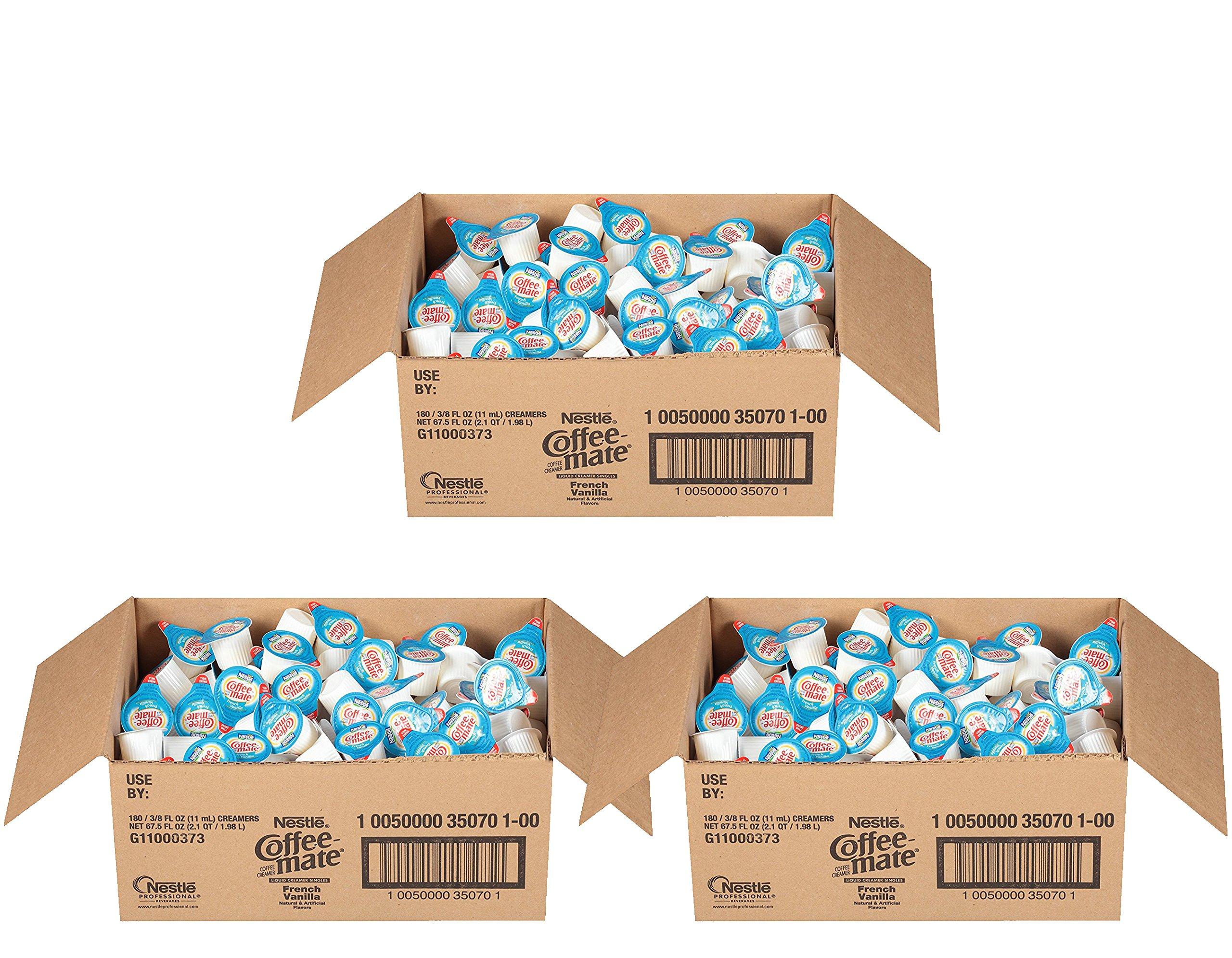 Coffee-mate Nestle Coffee Creamer, French Vanilla, Liquid Creamer Singles, Pack of 180 (3 Pack)