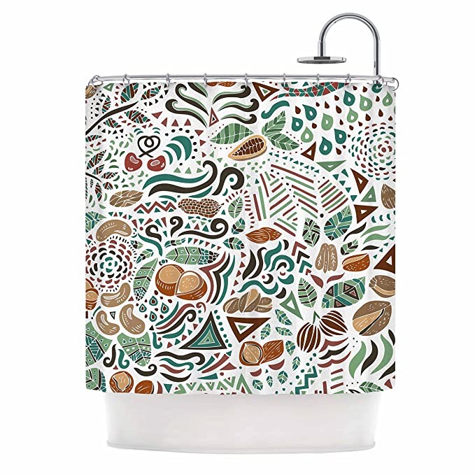 69 x 70 Shower Curtain Kess InHouse Pom Graphic Design Nuts for Love Green Brown Nature Illustration