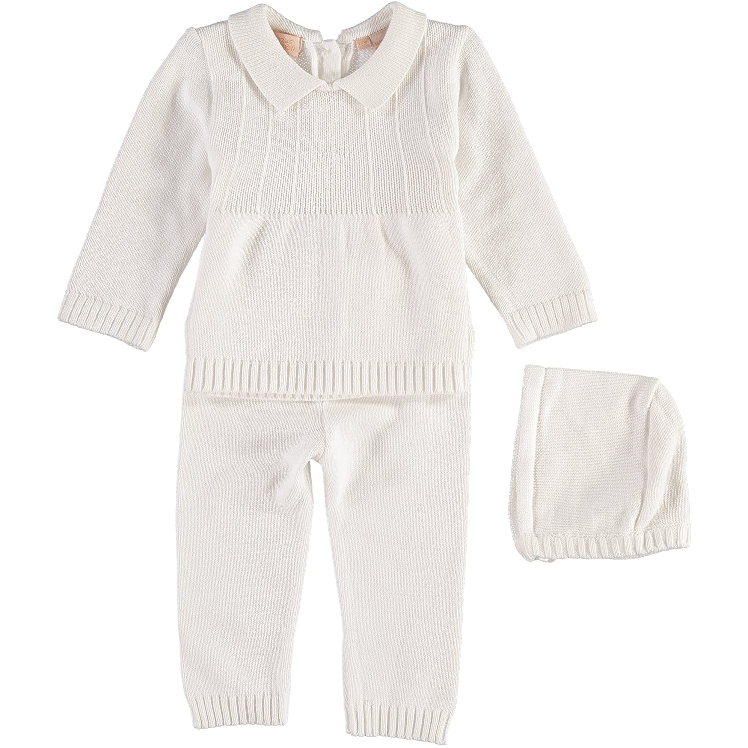 Boutique Collection White Knitted Christening 2 Piece Outfit with Cross Detail