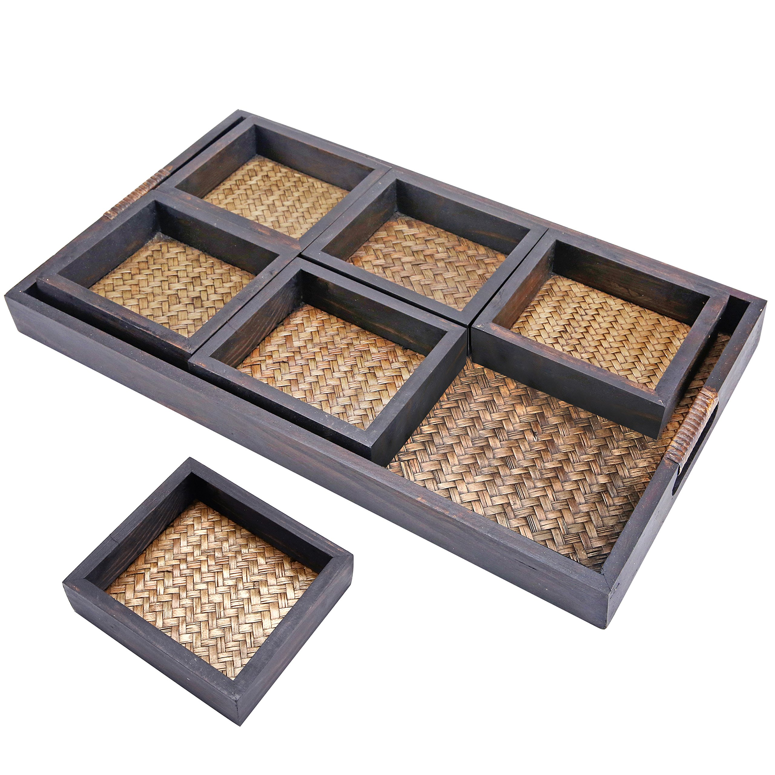 MyGift 7 Piece Flocked Nesting Mango Wood and Woven Rattan Jewelry Organizer Display Trays by MyGift (Image #1)