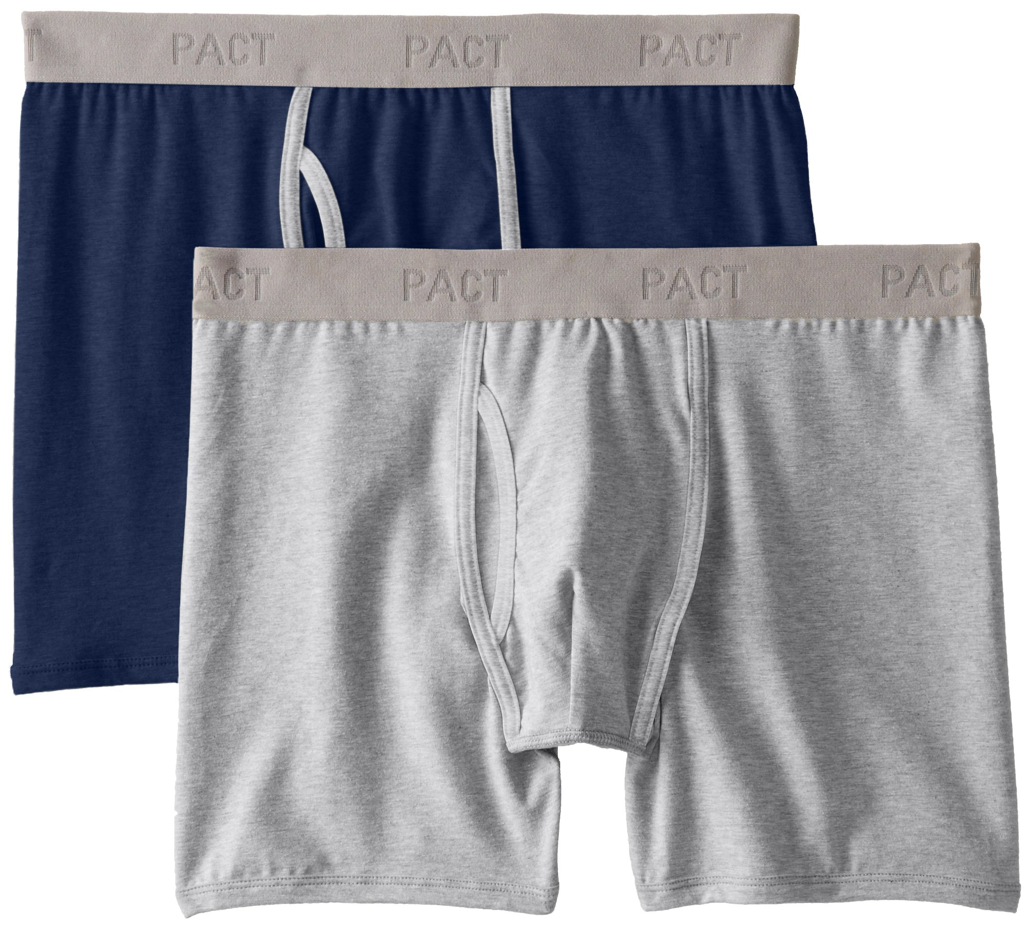 6462deceae27 Galleon - Pact Men's 2-Pack Organic Cotton Stretch Boxer Brief Underwear,  Heather Grey/Navy Medium