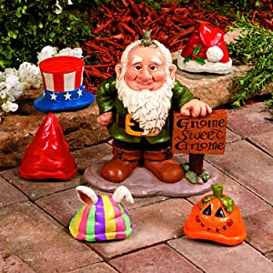 Fun Express Gnome Greeter with Hat Set-Garden Decor, Seasonal Outdoor, Novelty & Unique Gift-6 Piece Set