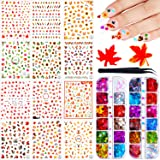 12 Sheets Thanksgivings Nail Decals, 24 Boxes Colored Maple Leaf Holographic Nail Sequins 3D Maple Leaf Nail Art Glitter…