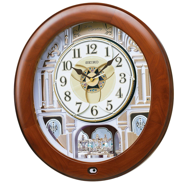 セイコー クロック 掛け時計 電波 アナログ からくり 12曲 メロディ 回転飾り 木枠 茶 木地 RE574B SEIKO B00OCDDIAK