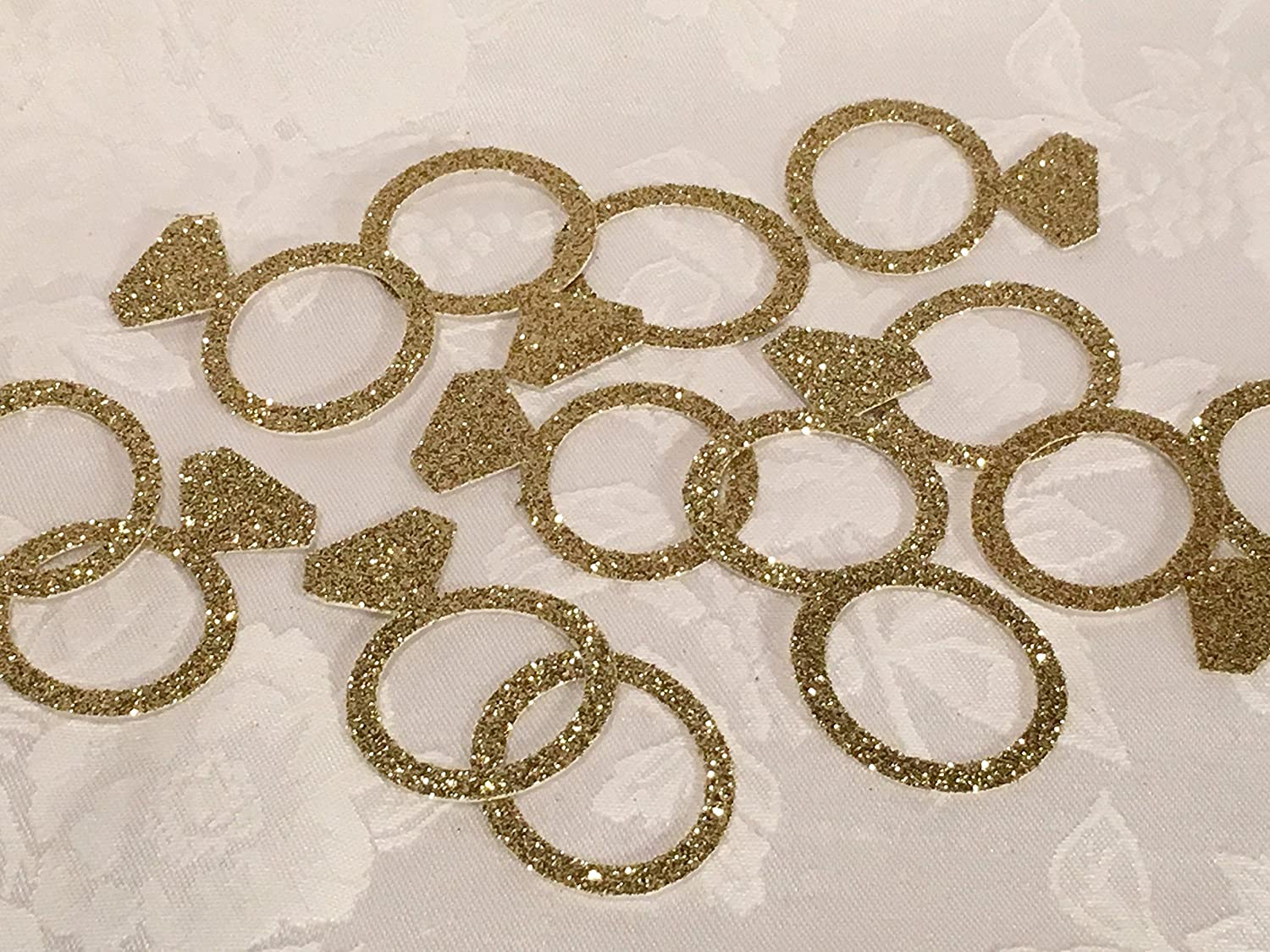 100 Glitter Diamond Ring and Band Confetti, MANY COLORS