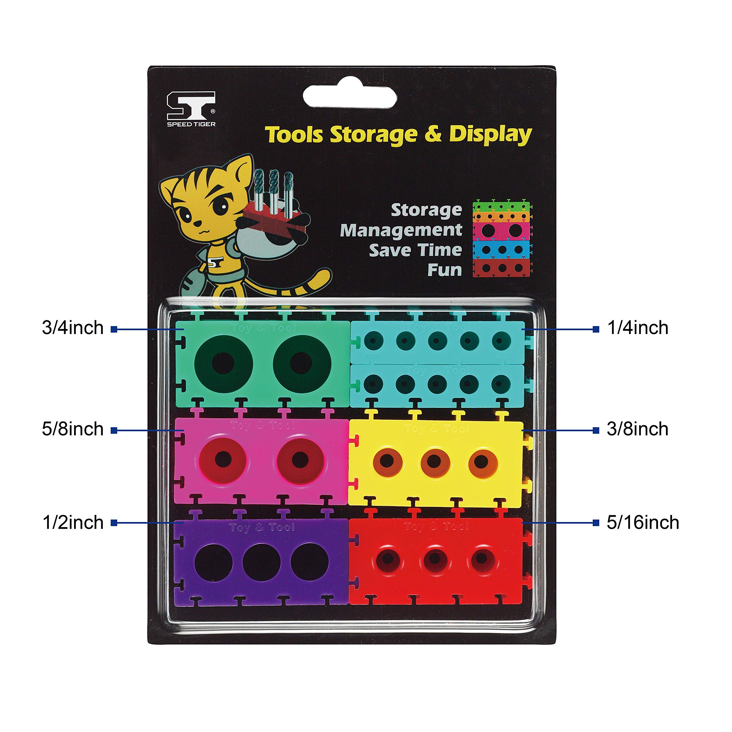 SPEED TIGER End Mill Holders - Tool Storage & Display Brick Set - Colorful and Convenient (Fractional)