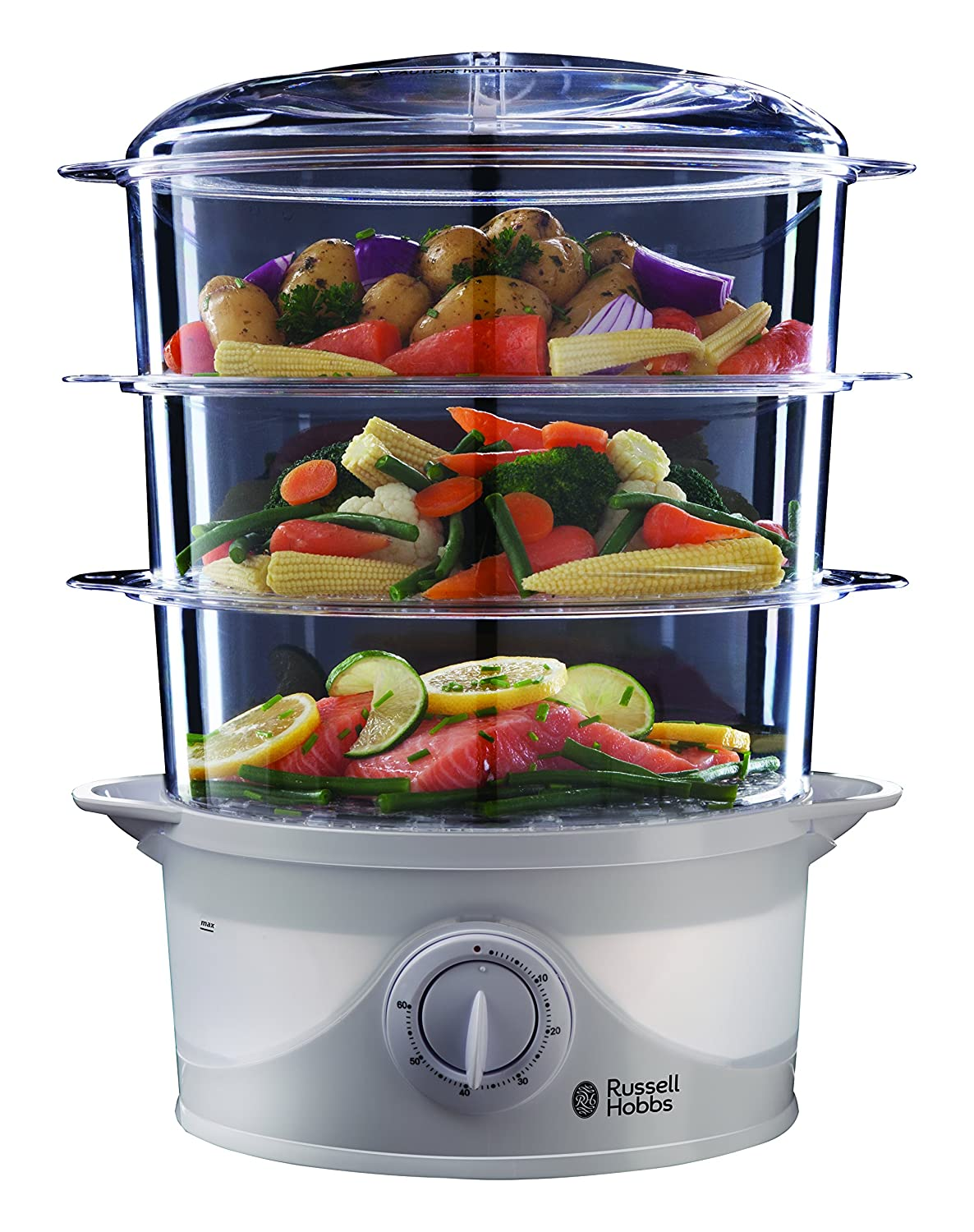 Russell Hobbs 21140 Three Tier 9 Liter 800 Watt Food Steamer, 220V (Not for USA - European Cord)