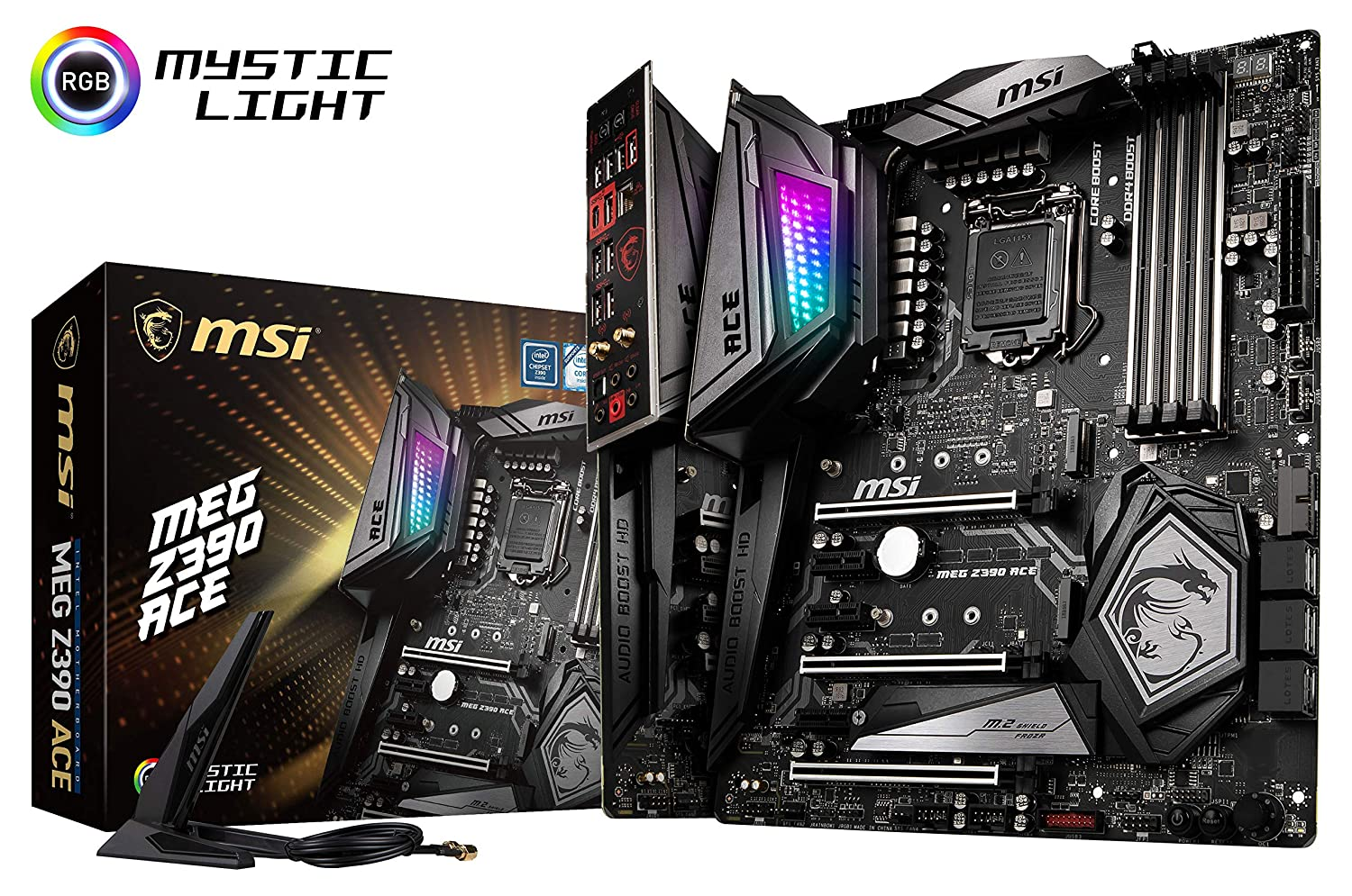 MSI MEG Z390 ACE LGA1151 (Intel 8th and 9th Gen) M.2 USB 3.1 Gen 2 DDR4 Wi-Fi SLI CFX ATX Z390 Gaming Motherboard