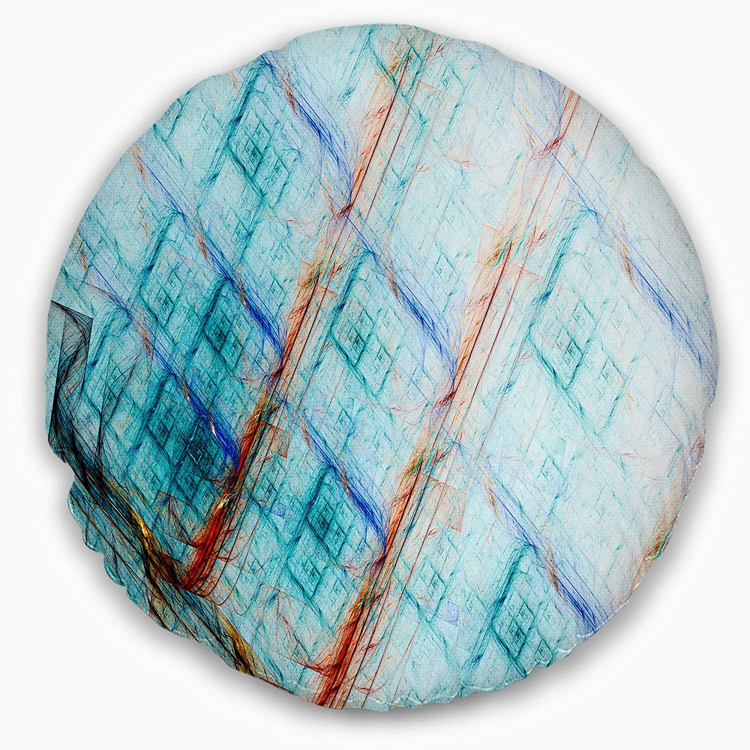 Sofa Throw Pillow 20 Designart CU15810-20-20-C Light Blue Metal Grill Abstract Round Cushion Cover for Living Room