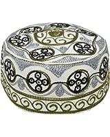 Muslim Prayer Cap Kufi Topi with Gray Beautiful Round Shaped Embroidery