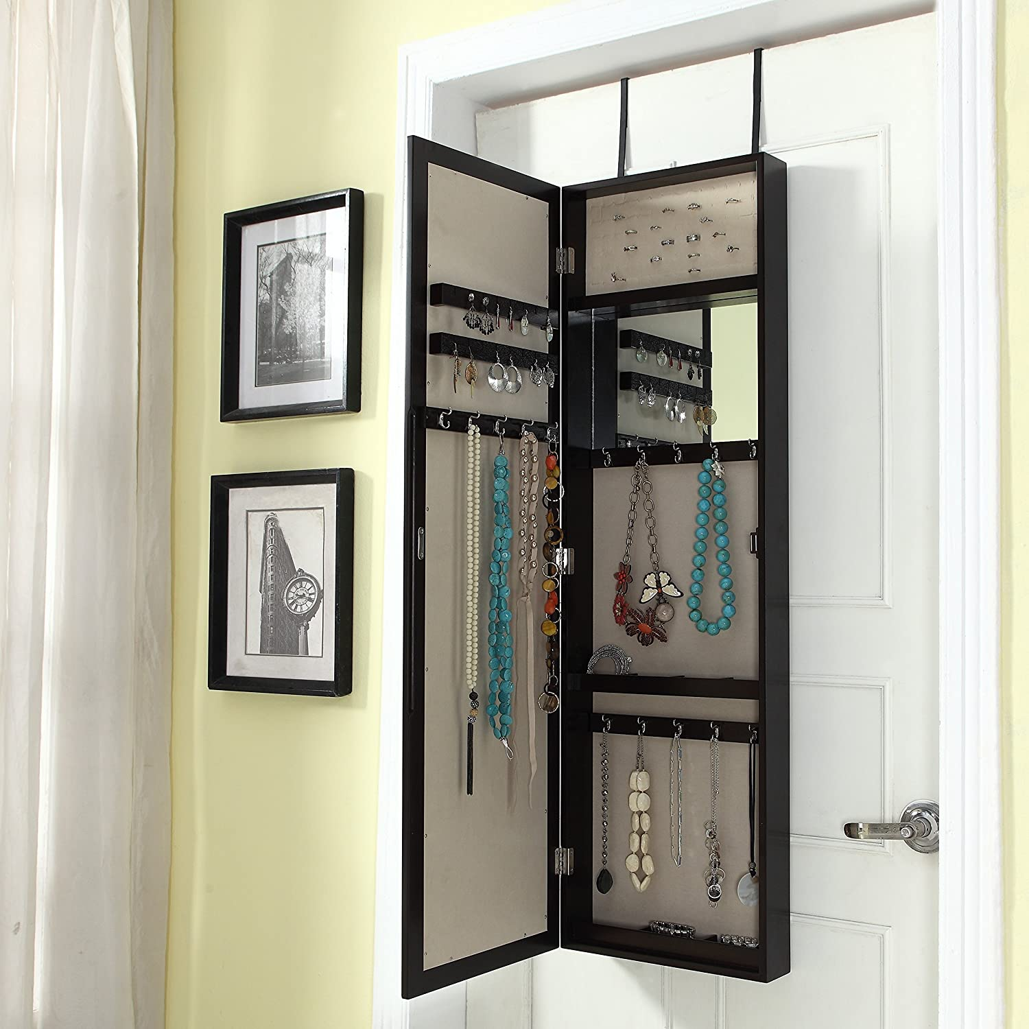Charmant Modern Over The Door Jewelry Armoire With Mirror Jewelry Box Jewelry  Cabinet Jewelry Holder Necklace Holder Storage Mirror Wall Mounting Option  Trendy, ...