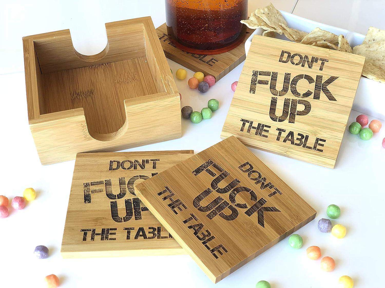 Don't Fuck Up the Table カスタム彫刻バンブーコースター 4個セット ホルダー付き   B07JL7RFMN