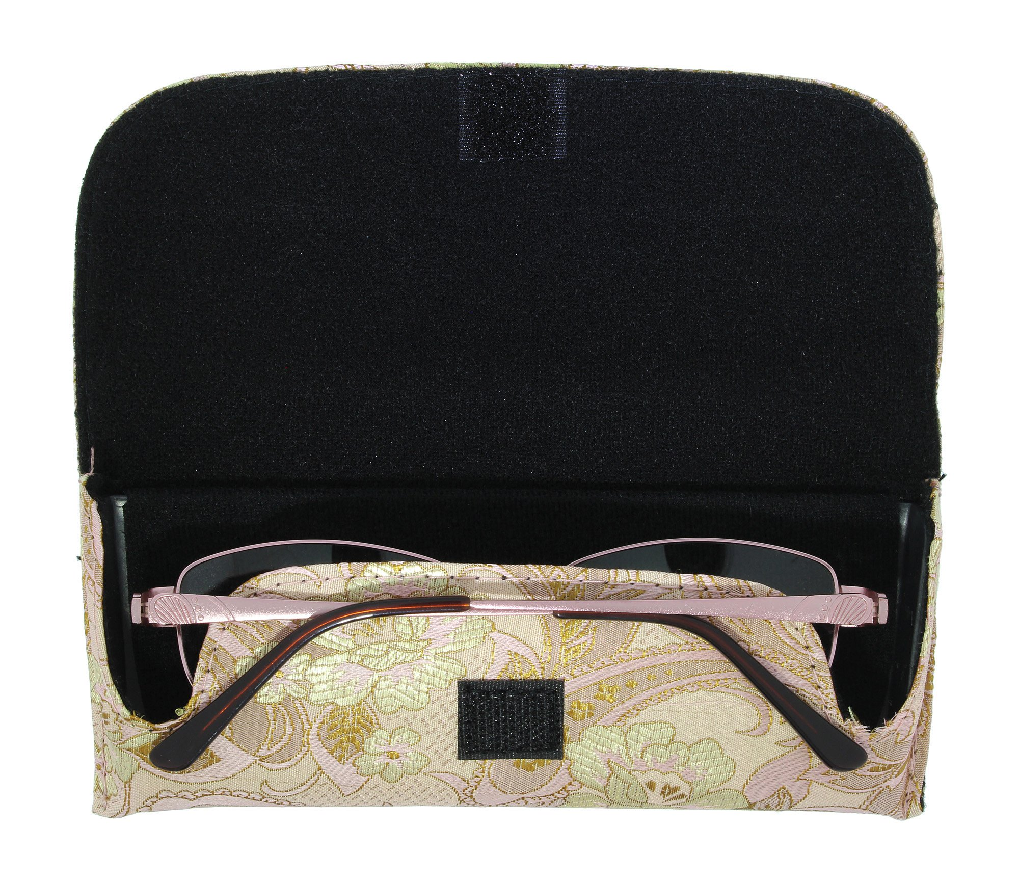 Asian Silk Brocade Style Semi-Hard Eyeglass Case Front Closure Pink Champagne by Ron's Optical (Image #2)