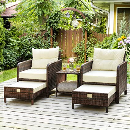 Amazon Com Pamapic 5 Pieces Wicker Patio Furniture Set Outdoor Patio Chairs With Ottomans Garden Outdoor