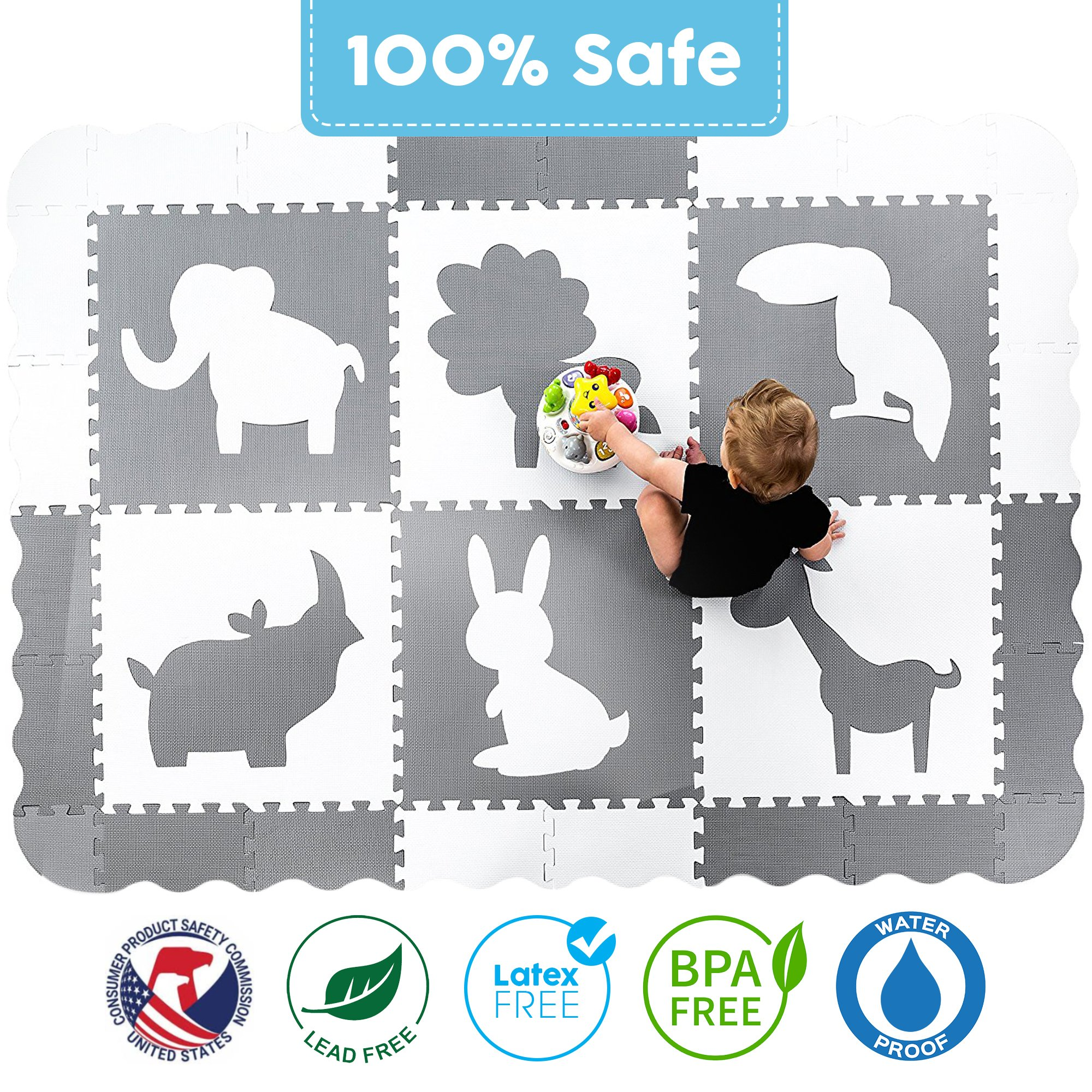 Large (5x7') Baby Play Mat with Interlocking Foam Floor Tiles. Neutral, Non Toxic Baby Playmat for Nursery, Playroom or Living Room (Grey and White) by Wee Giggles (Image #3)