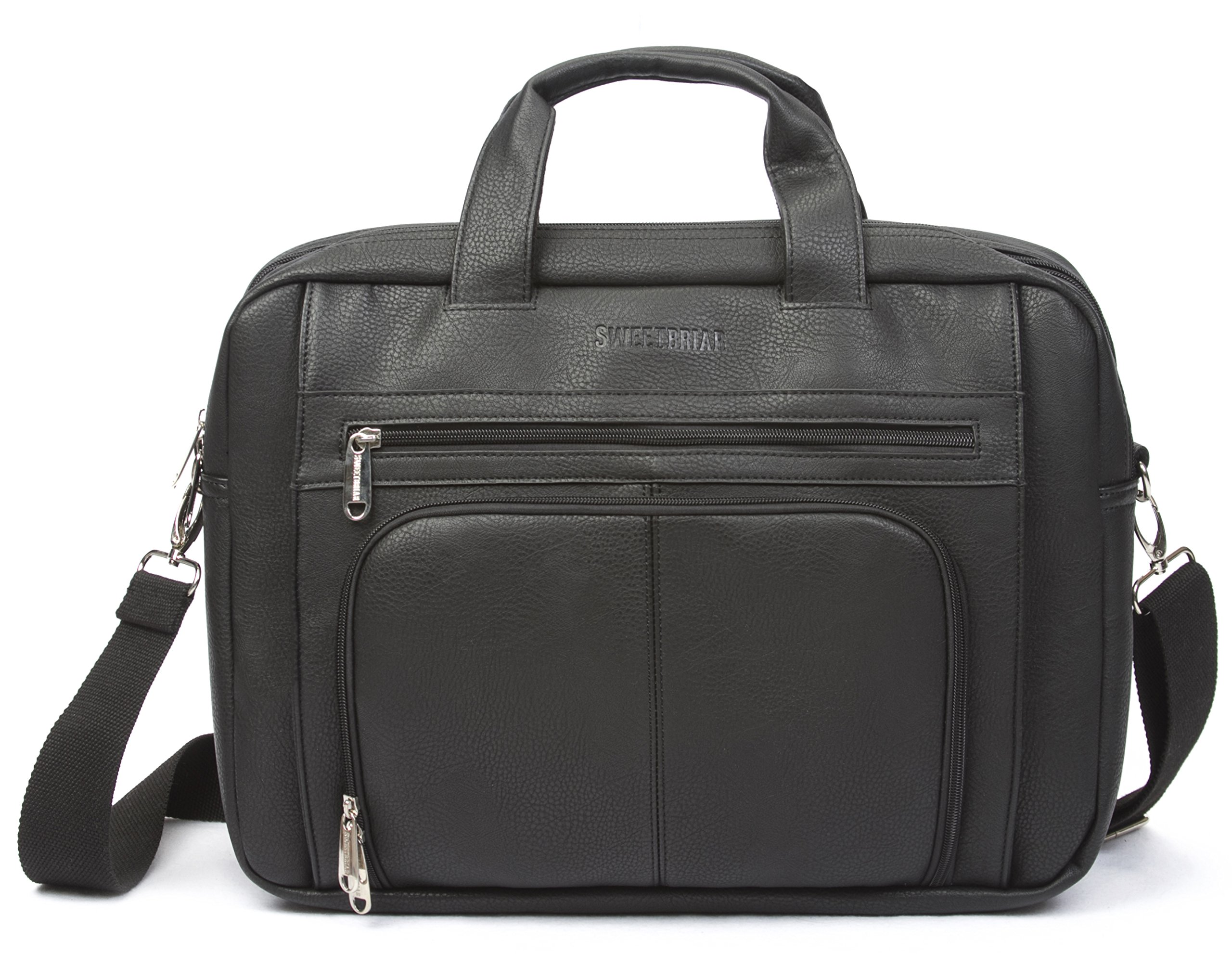 Sweetbriar Classic Laptop Briefcase - Vegan Leather Bag Designed to Protect Laptops up to 15.6 Inches