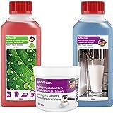 Kaffeemaschinen Reiniger-Set 30 Reinigungstabletten 250ml Flüssig-Entkalker & Milchschaum-Reiniger universell verwendbar für viele Maschinen