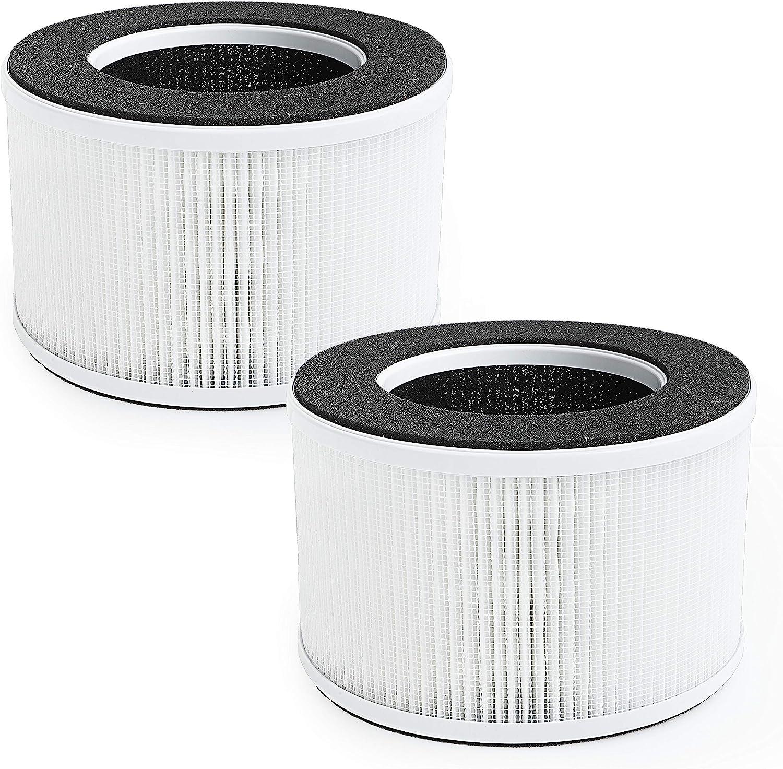 Flintar 3-in-1 True HEPA Replacement Filter, Compatible with hOmeLabs Home 4-in-1 Compact HEPA Air Purifier HME020020N, AKJ050GE, 2-Pack (2)