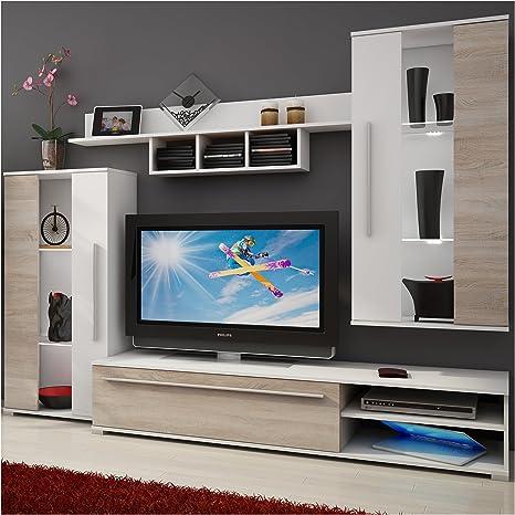 Homely - Mueble de salón Modular Nature Color Roble Sonoma y Blanco de 235 cm: Amazon.es: Juguetes y juegos