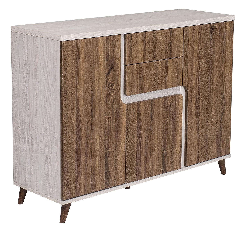 Timber Art Design Sideboard Storage Cabinet Modern Retro Style White Oak & Sonoma Oak for Living Room, Hallway or Dining Room Timber Art Design UK
