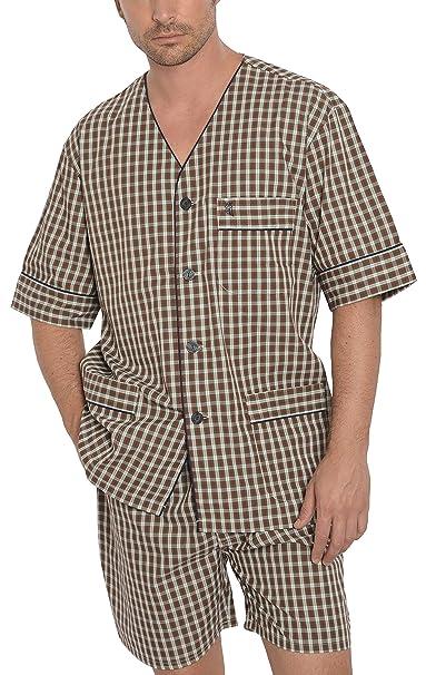Pijama de Caballero Corto clásico a Cuadros/Ropa de Dormir para Hombre - Tela Popelín