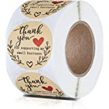 """2"""" Thank You for Supporting My Small Business Stickers, Classy Retro Sticker for Bags, Boxes, Tissue, Ideal for Crafters & On"""